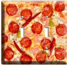 PEPPERONI ITALIAN PIZZA DOUBLE LIGHT SWITCH WALL PLATE DINING ROOM KITCHEN DECOR