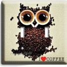 I LOVE HEART COFFEE BEANS OWL DOUBLE LIGHT SWITCH WALL PLATE COVER HOUSE DECOR