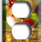 COUNTRY FARM ROOSTER BARN DUPLEX OUTLET WALL PLATE COVER KITCHEN ROOM HOME DECOR