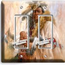NATIVE AMERICAN INDIAN CHIEF DOUBLE GFI LIGHT SWITCH WALL PLATE COVER ROOM DECOR