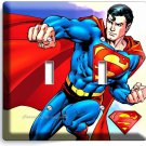 RETRO SUPERMAN SUPERHERO DOUBLE LIGHT SWITCH WALL PLATE COVER BOYS BEDROOM DECOR