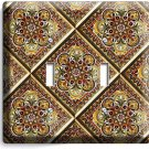 TUSCAN KITCHEN TILE PATTERN PRINT DOUBLE LIGHT SWITCH WALL PLATE COVER ART DECOR