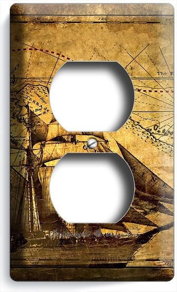 PIRATE SHIP OLD RUSTIC TREASURE MAP DUPLEX OULET COVER BOYS BEDROOM ROOM DECOR