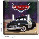 DISNEY CARS 3 RADIATOR SPRINGS SHERIFF POLICE DOUBLE LIGHT SWITCH WALL ART COVER