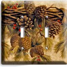 PINE CONES DOUBLE LIGHT SWITCH WALL PLATE COVER HOME WOOD CABIN ART RUSTIC DECOR