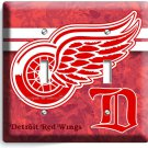 DETROIT RED WINGS NFL HOCKEY DRW TEAM DOUBLE LIGHT SWITCH WALL PLATE ART COVER