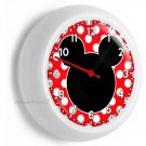 MICKEY MOUSE EARS SILHOUETTE RED WHITE POLA DOTS WALL CLOCK GIRLS BEDROOM DECOR
