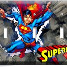 SUPERMAN CARTOON COMICS TRIPLE LIGHT SWITCH WALL PLATE COVER BOYS BEDROOM DECOR