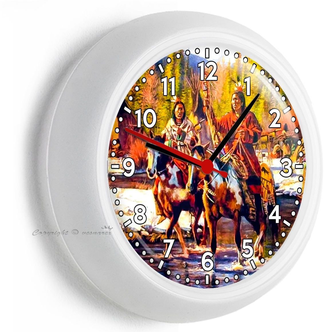 NATIVE AMERICAN INDIANS ON MUSTANG HORSES WALL CLOCK LIVING ROOM BEDROOM DECOR