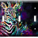 COLORFUL ZEBRA TRIPLE LIGHT SWITCH WALL PLATE COVER ART STUDIO ROOM HOME DECOR