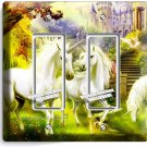 MAGICAL UNICORN DOUBLE GFI LIGHT SWITCH PLATE COVER WHIMSICAL FANTASY ROOM DECOR