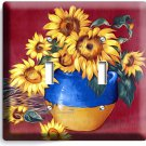 SUNFLOWERS BLUE VASE DOUBLE LIGHT SWITCH WALL PLATE COVER LIVING ROOM BATHROOM