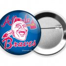 ATLANTA BRAVES BASEBALL TEAM INDIAN TOMAHAWK CHIEF HEAD PIN PINBACK BUTTON FLAIR