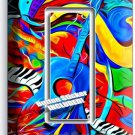 COLORFUL GUITAR SAXOFONE MUSIC ABSTRACT GFI SINGLE LIGHT SWITCH WALL PLATE COVER