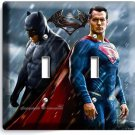 BATMAN V SUPERMAN SUPERHEROES DOUBLE LIGHT SWITCH WALL PLATE COVER BOYS ROOM ART
