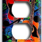 ACOUSTIC GUITARS MUSIC NOTES ABSTRACT MODERN ART DUPLEX OUTLET WALL PLATE COVER