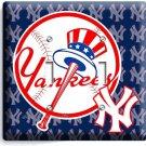BASEBALL NEW YORK YANKEES TEAM LOGO DOUBLE LIGHT SWITCH GAME TV ROOM HOME DECOR