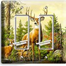 WHITETAIL DEER BUCK ANTLERS DOUBLE GFCI LIGHT SWITCH WALL PLATE COVER HOME DECOR