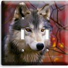 GRAY WOLF WOODS IN AUTUMN FOREST DOUBLE LIGHT SWITCH WALL PLATE COVER HOME DECOR