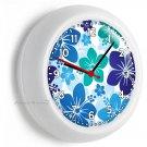 BLUE HAWAIIAN HIBISCUS FLOWERS WALL CLOCK BEDROOM BABY NURSERY ROOM HOME DECOR