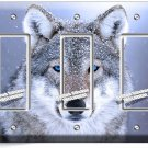 WILD GRAY BLUE EYE WOLF SNOW TRIPLE GFI LIGHT SWITCH WALL PLATE COVER HOME DECOR
