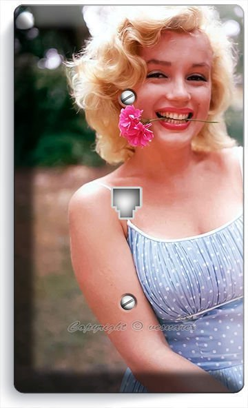 MARILYN MONROE SMILING FLOWER TELEPHONE PHONE JACK WALL PLATE COVER DECORATION