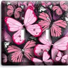 PINK BUTTERFLIES SINGLE LIGHT DOUBLE WALL PLATE BABY GIRL ROOM NURSERY ART DECOR