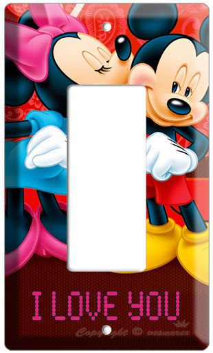 MICKEY MOUSE MINNIE KISSING SINGLE GFCI LIGHT SWITCH WALL COVER KIDS ROOM DECORA