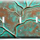 OLD RUSTED WORN OUT COPPER GREEN BRONZE PATINA TRIPLE LIGHT SWITCH WALL PLATE