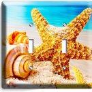 STARFISH SEA SHELLS BEACH HOUSE ART DECOR ROOM DOUBLE LIGHT SWITCH WALL PLATE