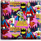 SUPERGIRL BATGIRL WONDER WOMAN GIRL BEDROOM DOUBLE LIGHT SWITCH WALL PLATE COVER