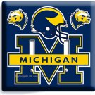 UNIVERSITY of MICIGAN FOOTBALL TEAM DOUBLE LIGHT SWITCH WALL PLATE BOYS BEDROOM