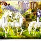 MAGICAL UNICORN TRIPLE LIGHT SWITCH WALLPLATE COVER WHIMSICAL FANTASY ROOM DECOR