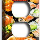 SUSHI ROLLS SASHIMI RECEPTACLE OUTLET WALL PLATE COVER JAPANESE RESTAURANT DECOR