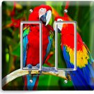 TROPICAL PARROTS LOVE BIRDS DOUBLE GFCI LIGHT SWITCH WALL PLATE COVER HOME DECOR