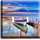 BOAT ON THE LAKE TWILIGHT TIME LIGHT DOUBLE SWITCH WALL PLATE COVER DREAMY DECOR