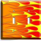 HOT ROD RED YELLOW ORANGE FLAMES DOUBLE LIGHT SWITCH WALL PLATE COVER GARAGE ART