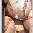 WORN OUT OLD RUSTIC BASEBALL BALLS TELEPHONE PHONE JACK PLATE BOYS ROOM DECOR