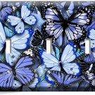 BLUE BUTTERFLIES TRIPLE LIGHT SWITCH WALL PLATE BABY BOY ROOM NURSERY ART DECOR