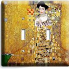 GUSTAV KLIMT ADELE BLOCH GOLD LEAF PAINTING DOUBLE LIGHT SWITCH WALL PLATE COVER