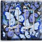 BLUE BUTTERFLIES DOUBLE GFCI LIGHT SWITCH WALL PLATE BABY BOY ROOM NURSERY DECOR