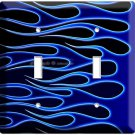 HOT ROD BLUE FIRE FLAMES DOUBLE LIGHT SWITCH WALL PLATE COVER BIKE GARAGE DECOR