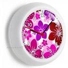 PINK HAWAIIAN HIBISCUS FLOWERS WALL CLOCK BEDROOM BABY NURSERY ROOM HOME DECOR
