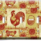 FRENCH FARM ROOSTER HEN CHICKEN EGGS BASKET TRIPLE LIGHT SWITCH WALL PLATE COVER