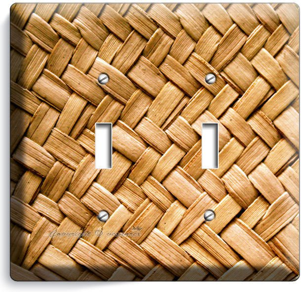 RUSTIC WICKER WEAVE STRAW PATTERN DOUBLE LIGHT SWITCH WALL PLATE COUNTRY HOUSE