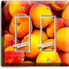 RIPE PEACHES DOUBLE GFCI LIGHT SWITCH WALL PLATE DINING ROOM KITCHEN FRUIT DECOR