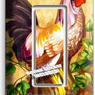 COUNTRY FARM ROOSTER HENS RUSTIC SINGLE GFCI LIGHT SWITCH WALL PLATE COVER DECOR