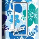 BLUE HAWAIIAN HIBISCUS FLOWERS SINGLE GFI LIGHT SWITCH PLATE COVER BEDROOM DECOR