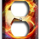 SOCCER BALL FLAME FOOTBALL DUPLEX OUTLET WALL PLATE COVER BOYS ROOM HOME DECOR
