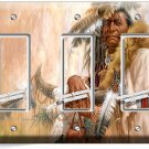 NATIVE AMERICAN INDIAN CHIEF TRIPLE GFI LIGHT SWITCH WALL PLATE COVER ROOM DECOR